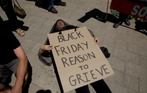 Young climate activists staged protests in malls around the world on Black Friday.
